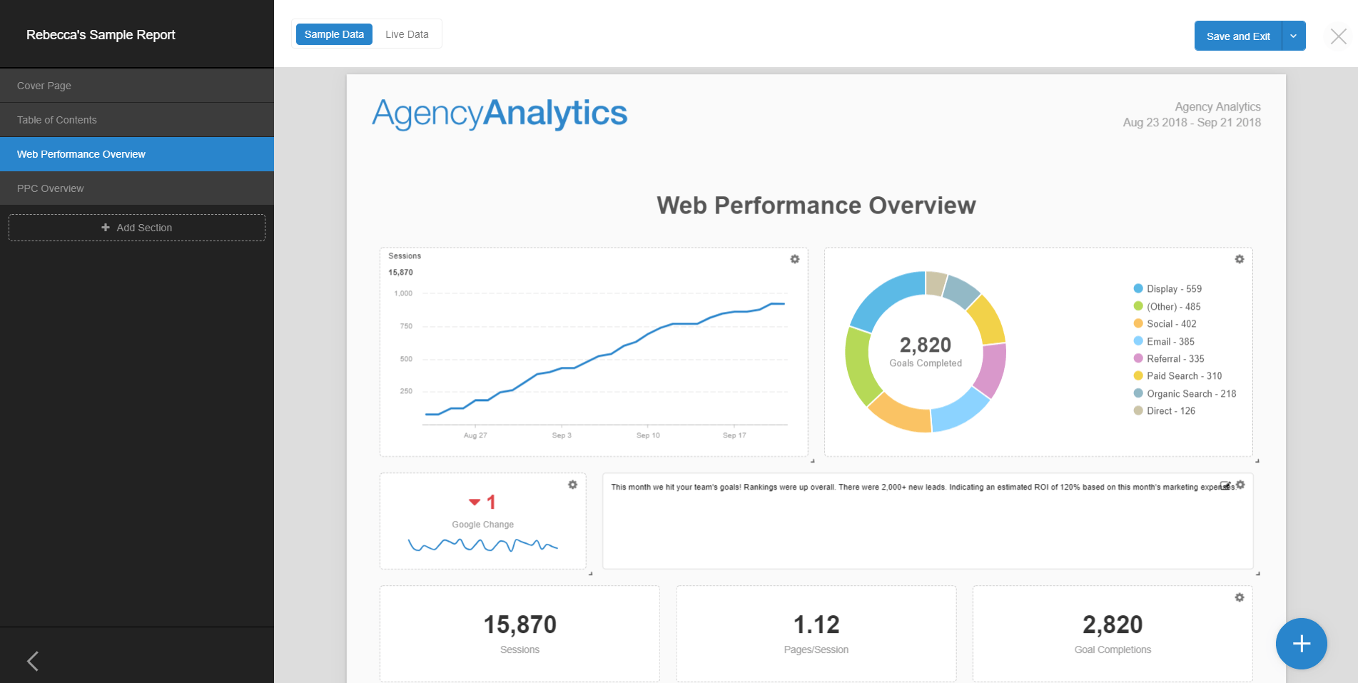 AgencyAnalytics New Report Editor