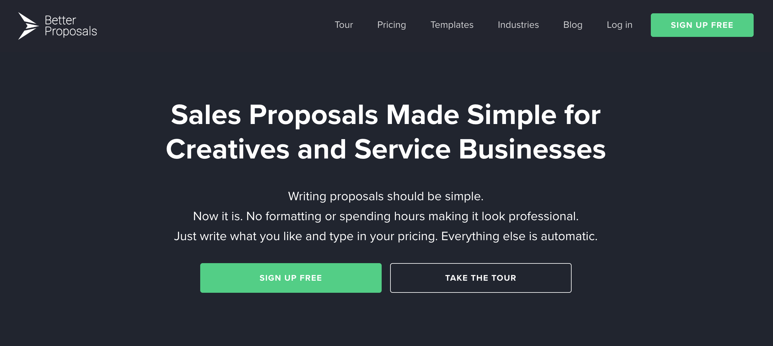Better Proposals homepage screenshot