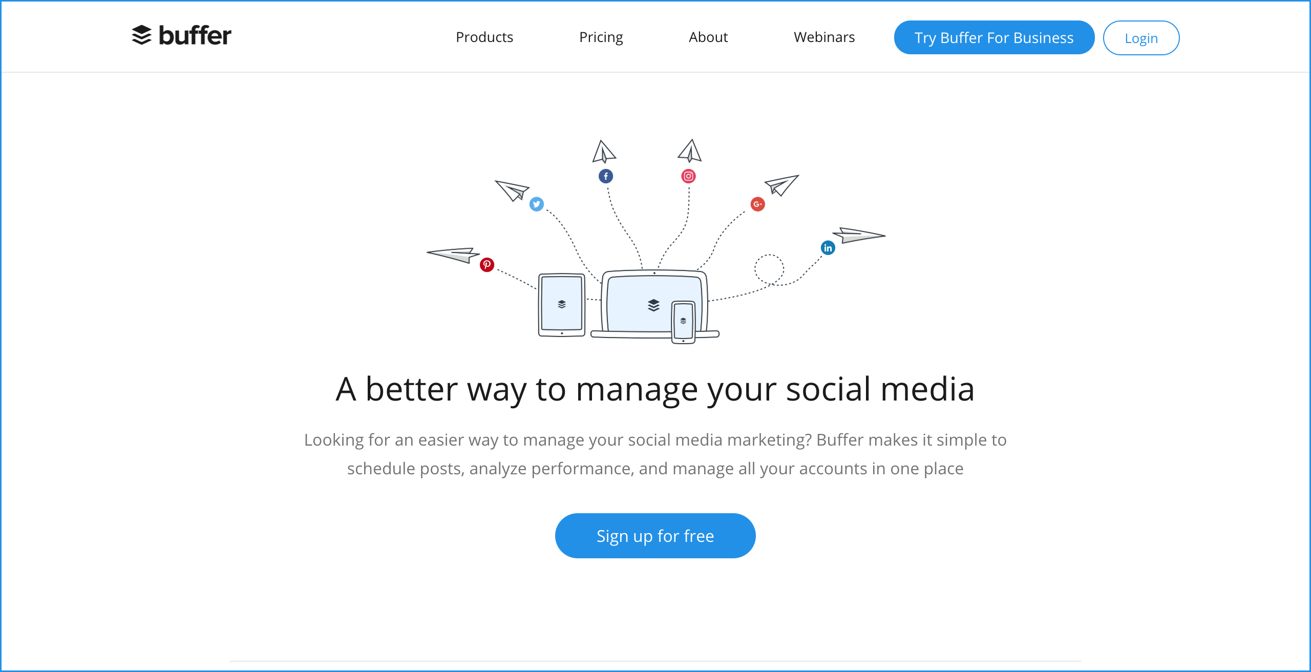 Buffer homepage screenshot