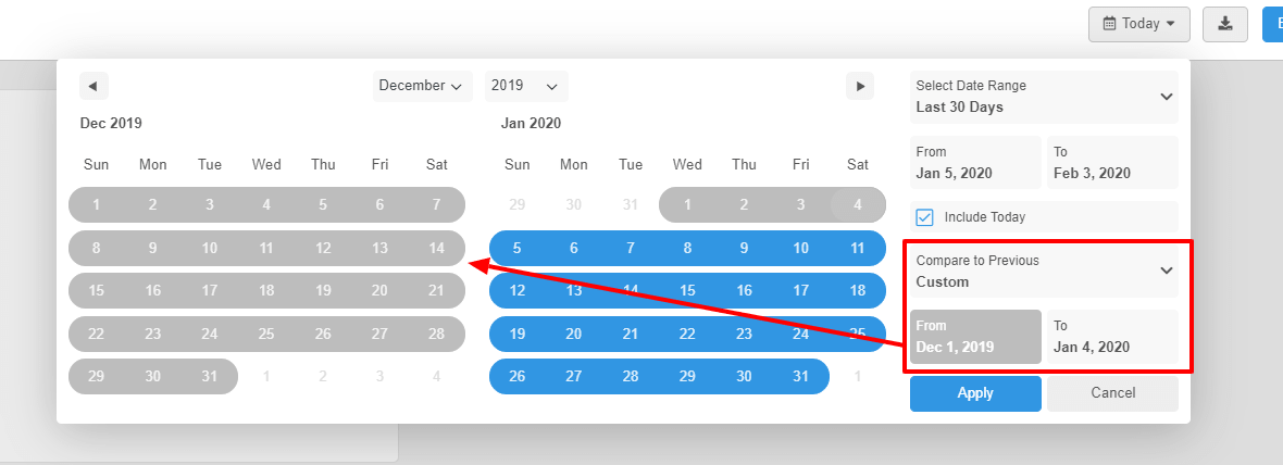Compare to a custom date range