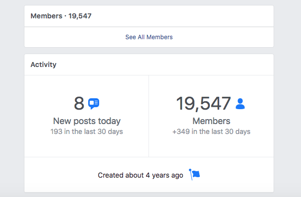 example of facebook group for finding new clients