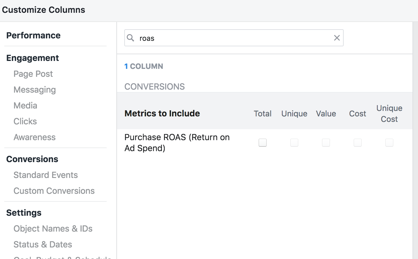 return on ad spend FB option