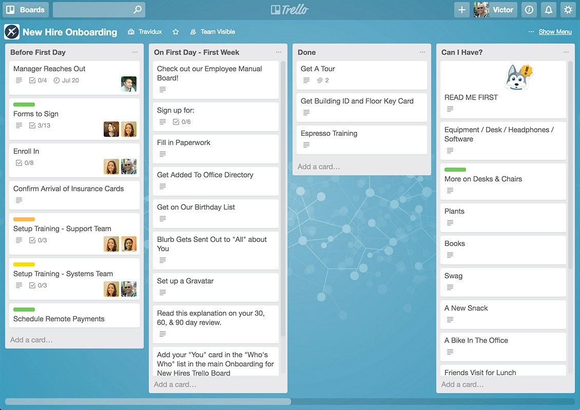 trello dashboard with tasks